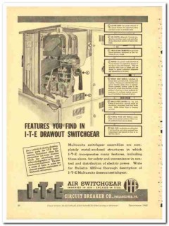I-T-E Circuit Breaker Company 1943 vintage electrical ad switchgear