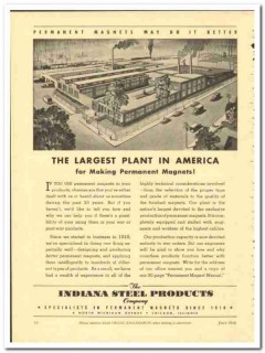 Indiana Steel Products Company 1943 vintage electrical ad magnet plant