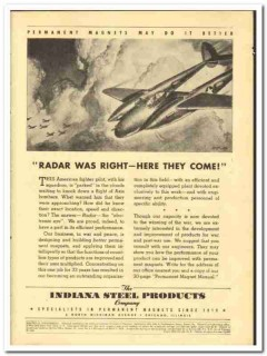 Indiana Steel Products Company 1943 vintage electrical ad radar magnet