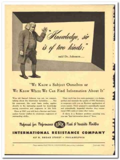 International Resistance Company 1943 vintage electrical ad knowledge