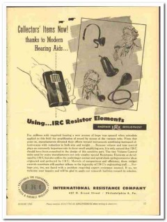 International Resistance Company 1943 vintage electrical ad hearing