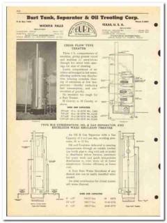 Burt Tank Separator Oil Treating Corp 1950 vintage catalog oilfield