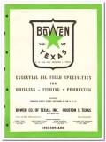Bowen Company Texas Inc 1951 vintage oil gas catalog oilfield drilling