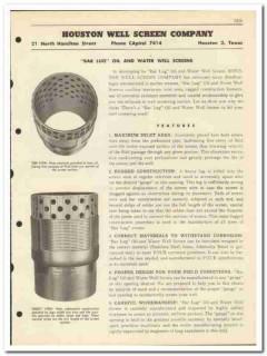 Houston Well Screen Company 1951 vintage oil catalog oilfield bar lug