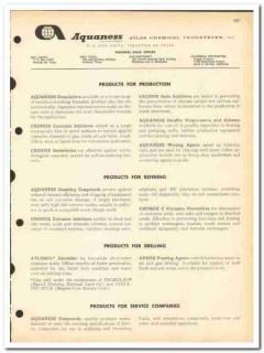 Atlas Chemical Industries 1963 vintage oil catalog oilfield Aquaness